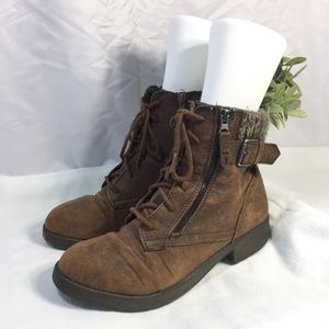 Women's Brown Lace Up Boots